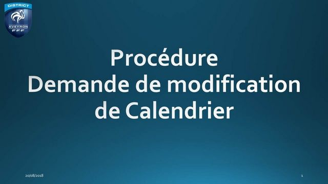 Procédure de Modification du Calendrier